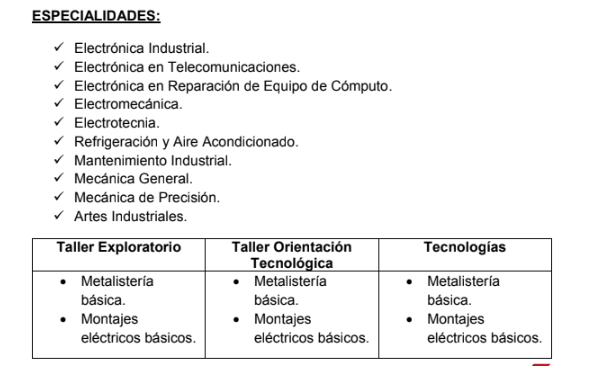 Talleres que pueden ser impartidos por el docente de Electrónica Industrial